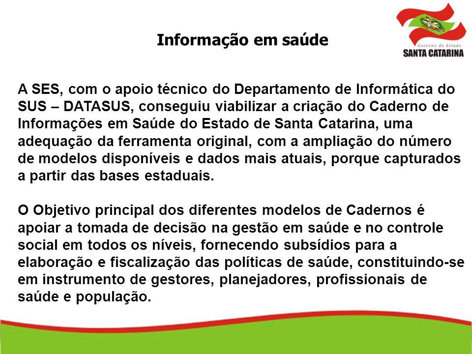 Informação em saúde A SES, com o apoio técnico do Departamento de Informática do SUS – DATASUS, conseguiu viabilizar a criação do Caderno de Informaçõ