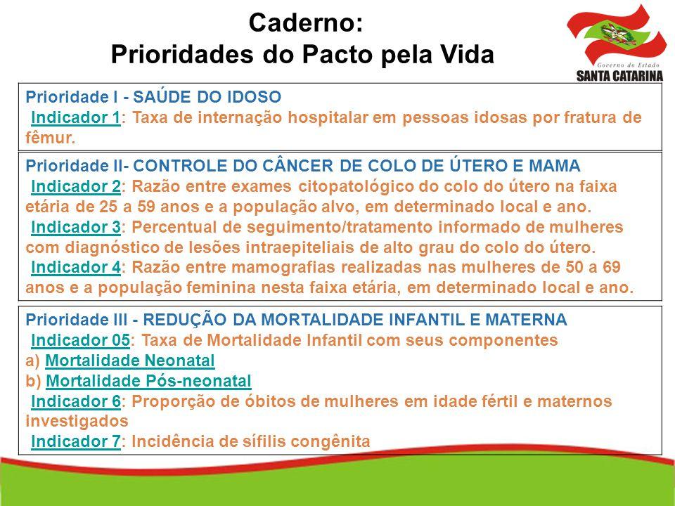 Caderno: Prioridades do Pacto pela Vida Prioridade I - SAÚDE DO IDOSO Indicador 1: Taxa de internação hospitalar em pessoas idosas por fratura de fêmu