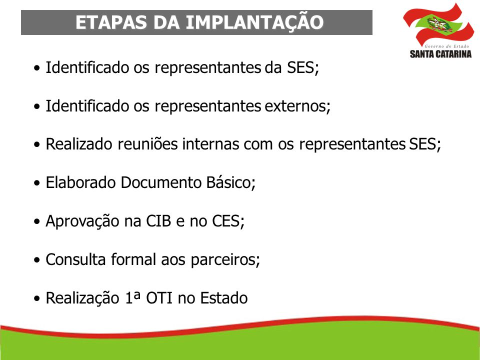 ETAPAS DA IMPLANTAÇÃO ETAPAS DA IMPLANTAÇÃO Identificado os representantes da SES; Identificado os representantes externos; Realizado reuniões interna