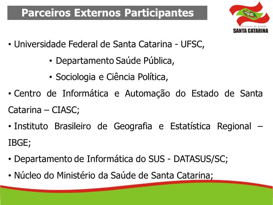 Parceiros Externos Participantes Secretaria de Estado do Planejamento; Secretaria de Estado da Educação; COSEMS; CES; Universidade do Sul de Santa Catarina – UNISUL.