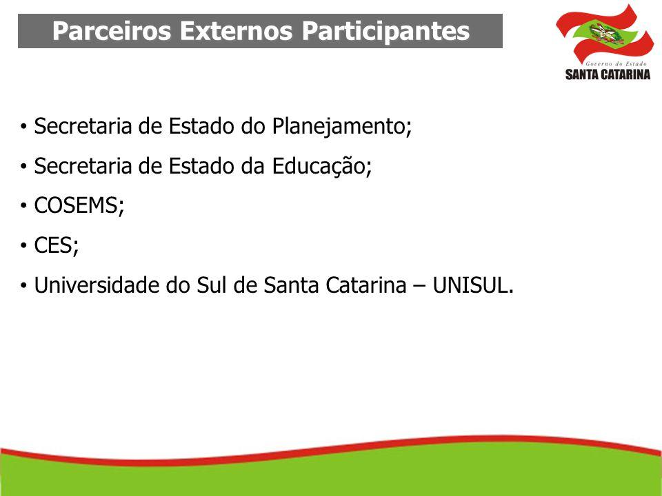 Parceiros Externos Participantes Secretaria de Estado do Planejamento; Secretaria de Estado da Educação; COSEMS; CES; Universidade do Sul de Santa Cat