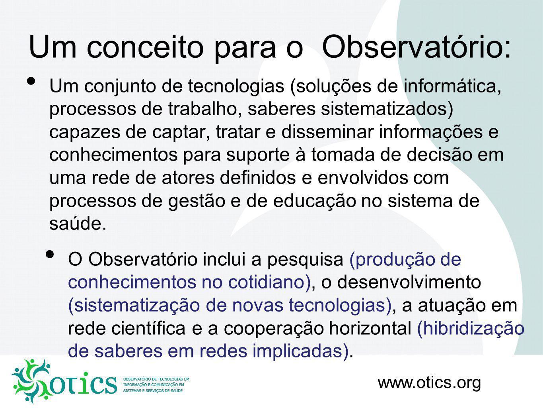 www.otics.org Ciclo informação/inteligência coletiva: Informação: Comportamento epidemiológico; Comportamento demográfico; Comportamento gerencial; Determinantes sociais.