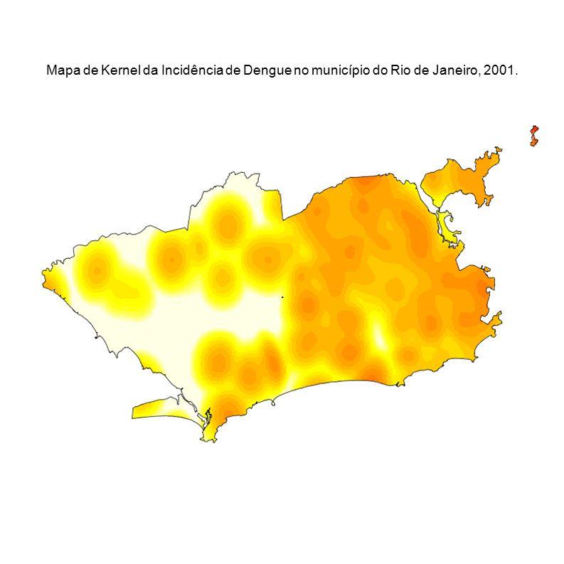 . Mapa de Kernel da Incidência de Dengue no município do Rio de Janeiro, 2001.