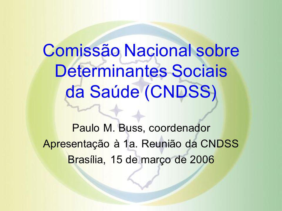 Comissão Nacional sobre Determinantes Sociais da Saúde (CNDSS) Paulo M. Buss, coordenador Apresentação à 1a. Reunião da CNDSS Brasília, 15 de março de
