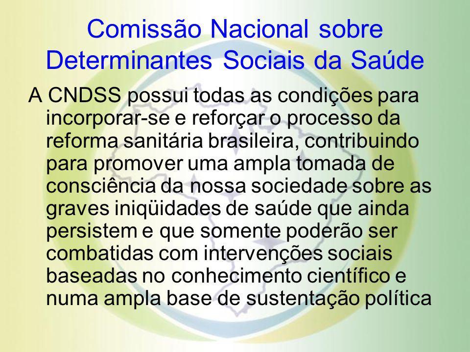 Comissão Nacional sobre Determinantes Sociais da Saúde A CNDSS possui todas as condições para incorporar-se e reforçar o processo da reforma sanitária