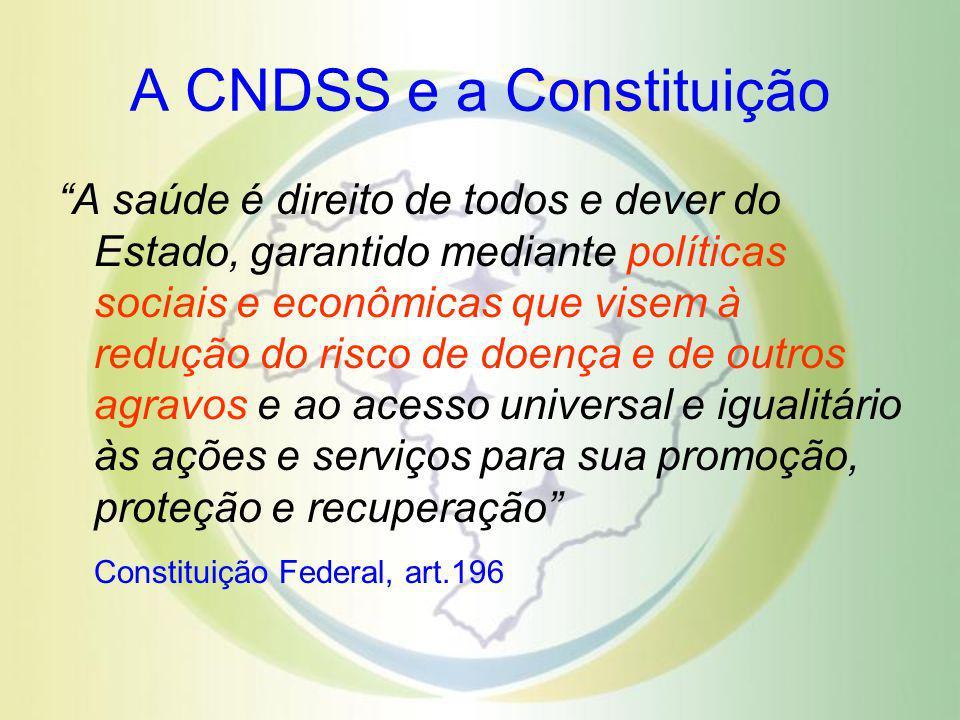 A CNDSS e a Constituição A saúde é direito de todos e dever do Estado, garantido mediante políticas sociais e econômicas que visem à redução do risco