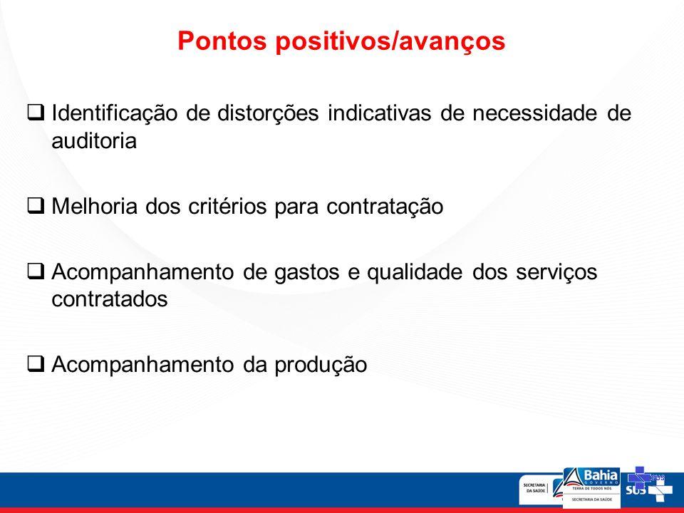 Identificação de distorções indicativas de necessidade de auditoria Melhoria dos critérios para contratação Acompanhamento de gastos e qualidade dos serviços contratados Acompanhamento da produção Pontos positivos/avanços