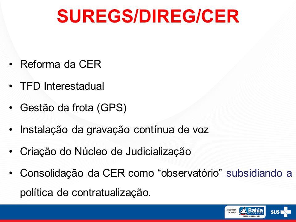 SUREGS/DIREG/CER Reforma da CER TFD Interestadual Gestão da frota (GPS) Instalação da gravação contínua de voz Criação do Núcleo de Judicialização Con