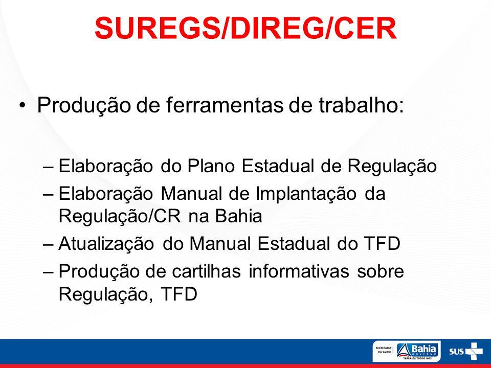 SUREGS/DIREG/CER Produção de ferramentas de trabalho: –Elaboração do Plano Estadual de Regulação –Elaboração Manual de Implantação da Regulação/CR na