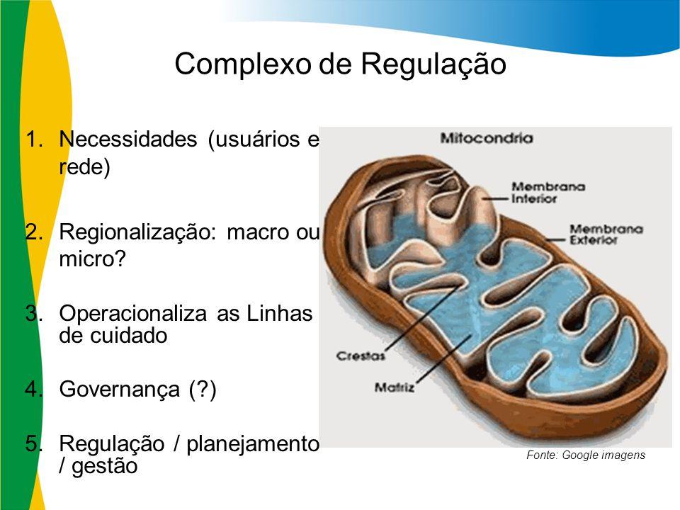 Complexo de Regulação 1.Necessidades (usuários e rede) 2.Regionalização: macro ou micro? 3.Operacionaliza as Linhas de cuidado 4.Governança (?) 5.Regu