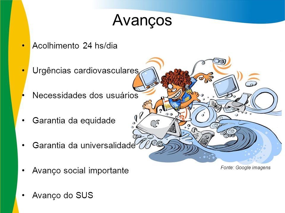 Avanços Acolhimento 24 hs/dia Urgências cardiovasculares Necessidades dos usuários Garantia da equidade Garantia da universalidade Avanço social impor