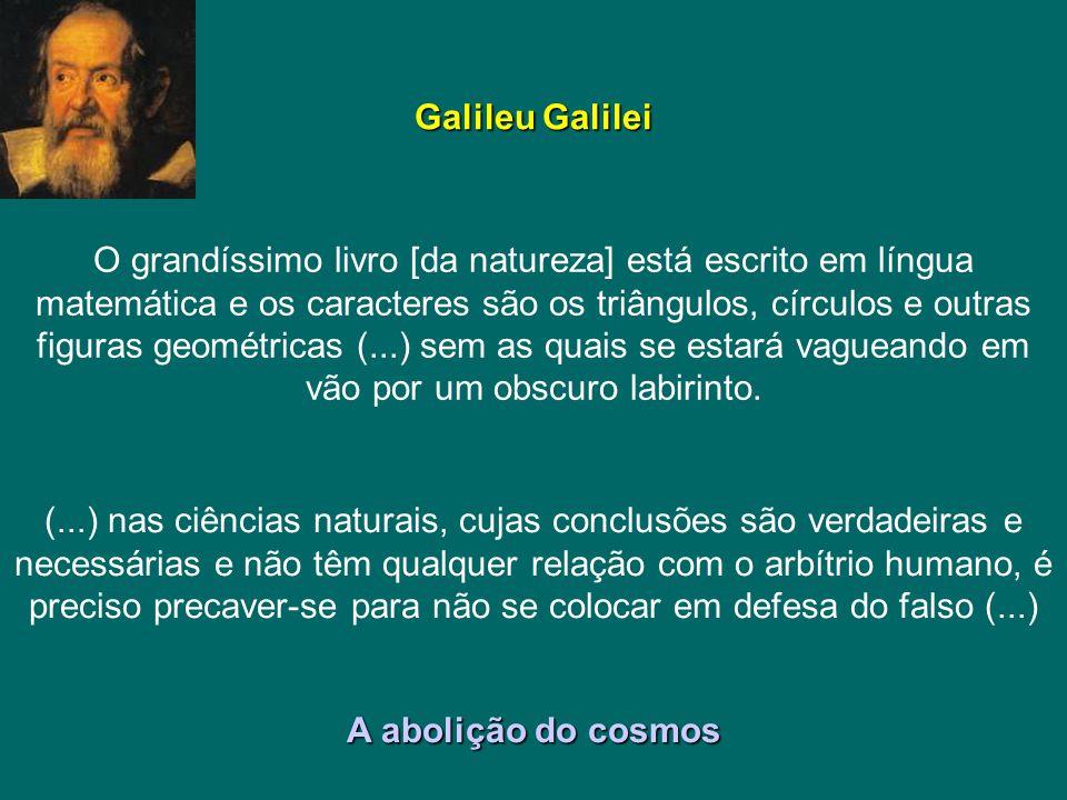 Galileu Galilei O grandíssimo livro [da natureza] está escrito em língua matemática e os caracteres são os triângulos, círculos e outras figuras geomé