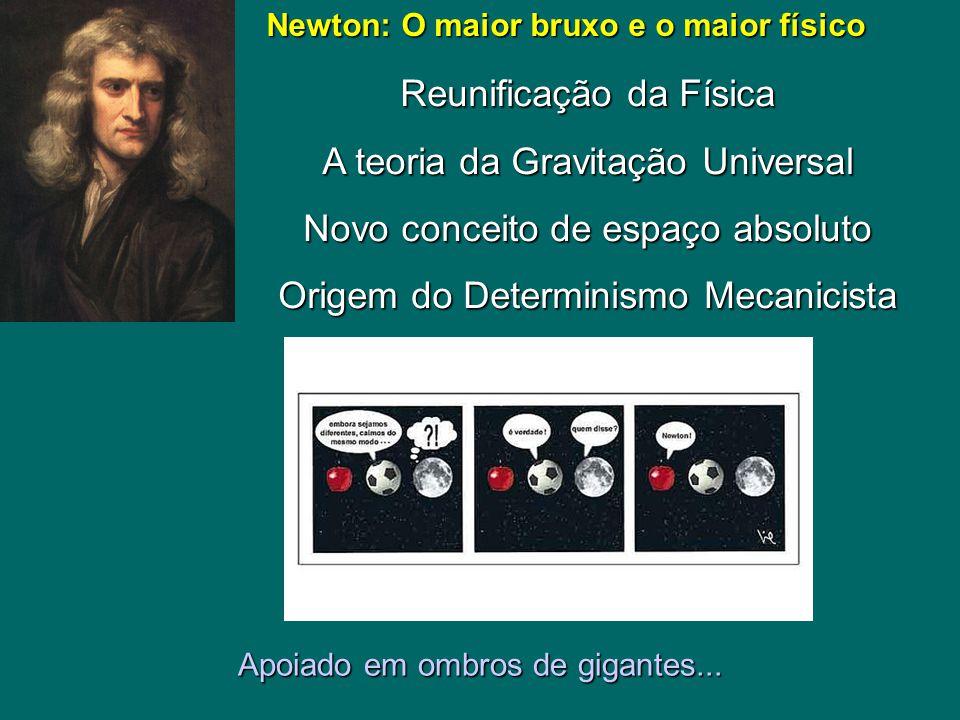 Newton: O maior bruxo e o maior físico Newton: O maior bruxo e o maior físico Reunificação da Física A teoria da Gravitação Universal Novo conceito de