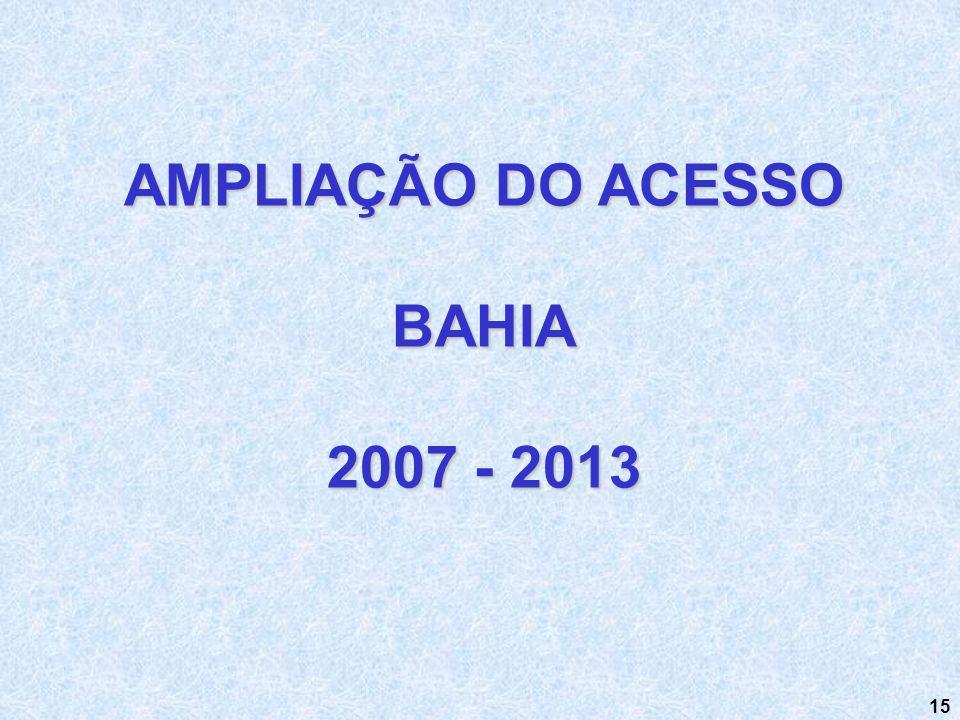 15 AMPLIAÇÃO DO ACESSO BAHIA 2007 - 2013