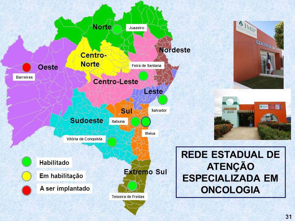 31 REDE ESTADUAL DE ATENÇÃO ESPECIALIZADA EM ONCOLOGIA Nordeste Norte Sul Sudoeste Centro-Leste Centro- Norte Oeste Leste Extremo Sul Barreiras Vitóri