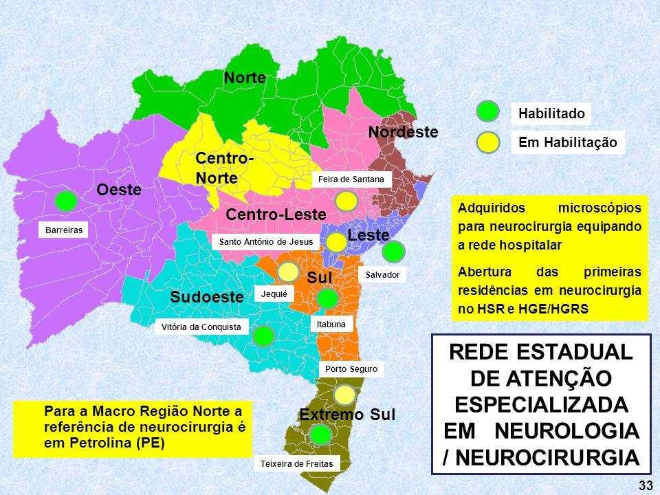 33 Norte Nordeste Sul Sudoeste Centro-Leste Centro- Norte Oeste Leste Extremo Sul REDE ESTADUAL DE ATENÇÃO ESPECIALIZADA EM NEUROLOGIA / NEUROCIRURGIA