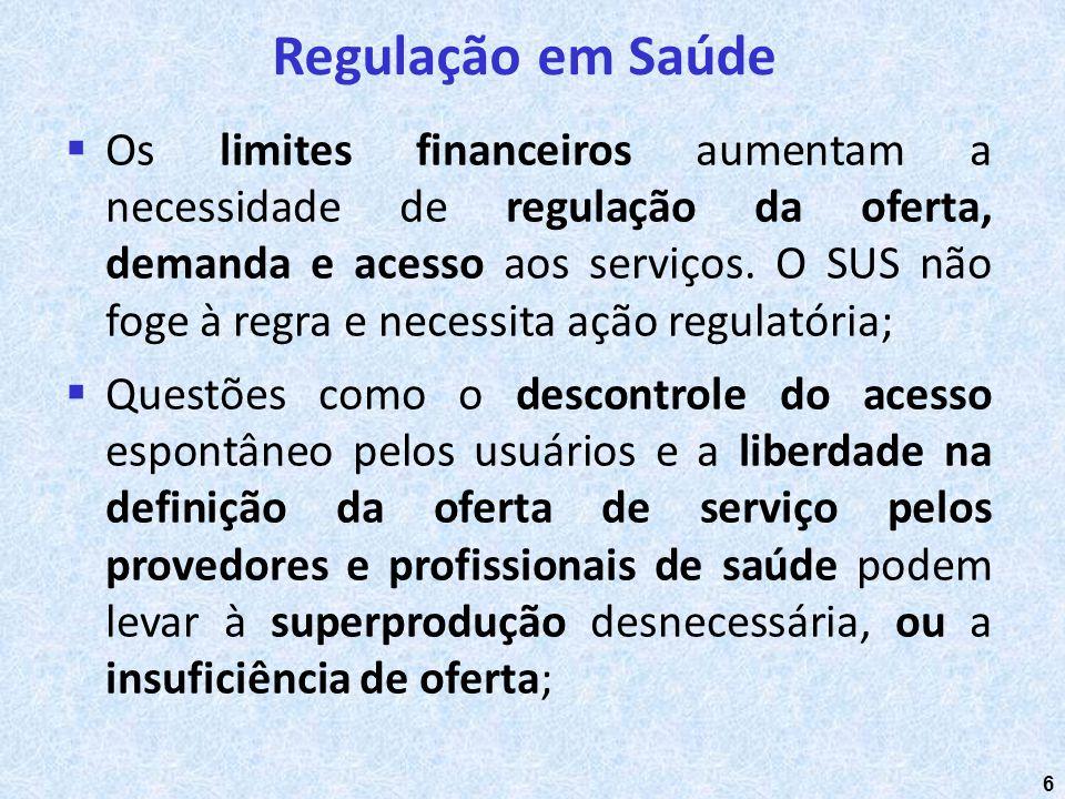 6 Os limites financeiros aumentam a necessidade de regulação da oferta, demanda e acesso aos serviços. O SUS não foge à regra e necessita ação regulat