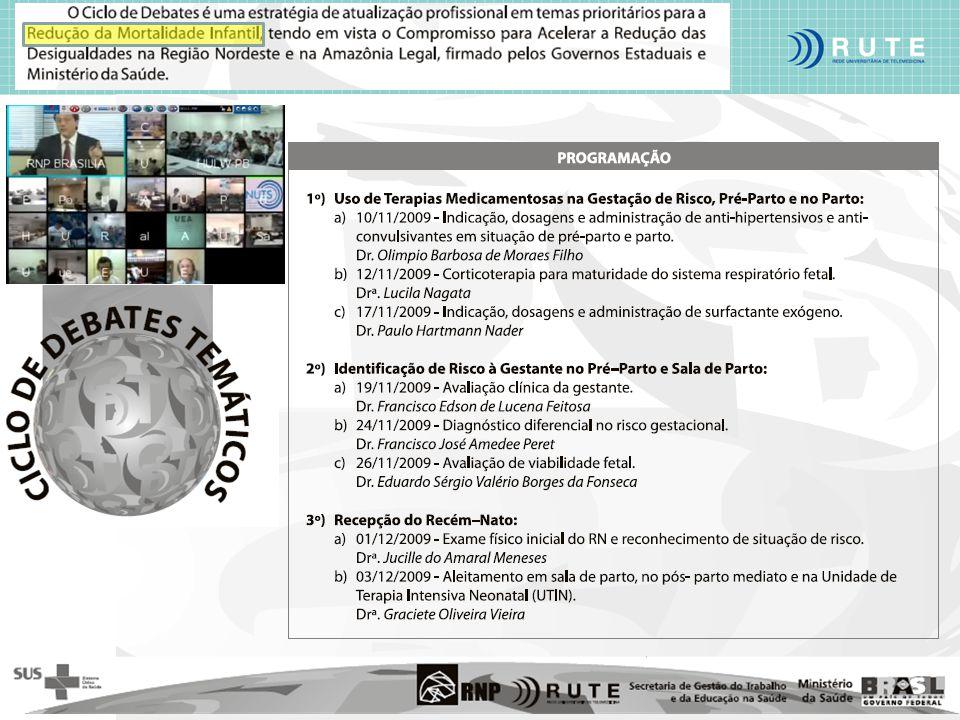 Ministério da Saúde Ministério da Ciência e Tecnologia Ministério da Educação Centro de Telessaúde - Hospital das Clínicas Universidade Federal de Minas Gerais - UFMG Tele Minas Saúde Secretaria de Estado de Minas Gerais 12horas/dia 1200 ecg/dia 1200 Teleconsultorias/mes (UFMG, UFU, UFTM, UFJF, Montes Claros, UFSJ) > 600 Municípios