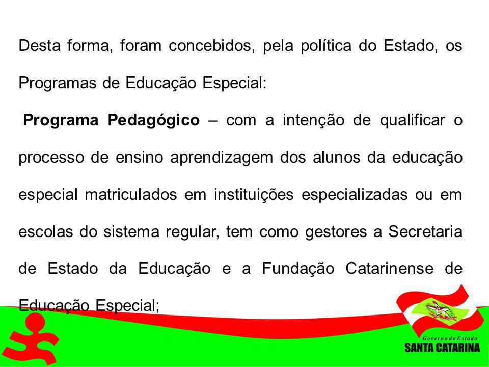 Desta forma, foram concebidos, pela política do Estado, os Programas de Educação Especial: Programa Pedagógico – com a intenção de qualificar o proces