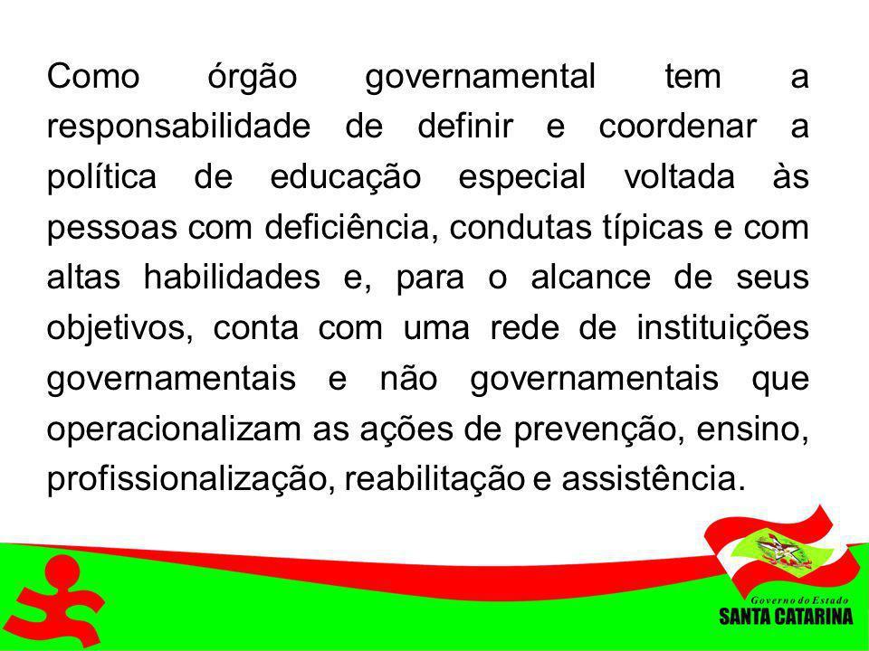 Como órgão governamental tem a responsabilidade de definir e coordenar a política de educação especial voltada às pessoas com deficiência, condutas tí