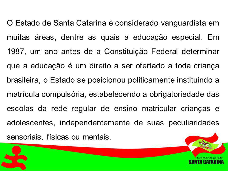O Estado de Santa Catarina é considerado vanguardista em muitas áreas, dentre as quais a educação especial. Em 1987, um ano antes de a Constituição Fe