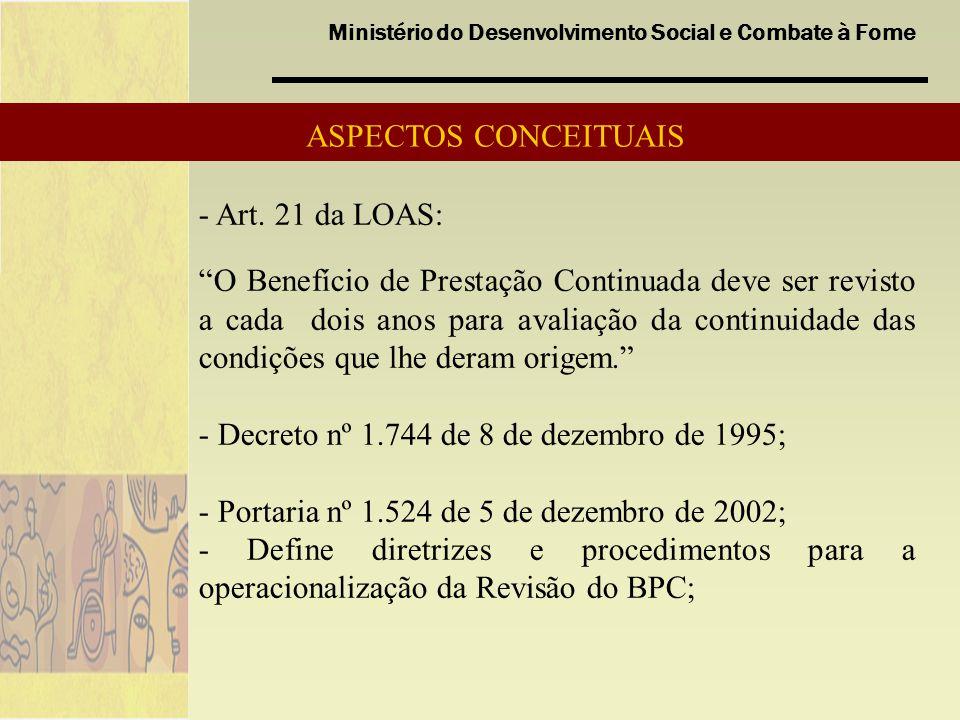 Ministério do Desenvolvimento Social e Combate à Fome O processo de revisão ocorre com a participação do INSS, DATAPREV, Estados, municípios, sob a coordenação da SNAS.