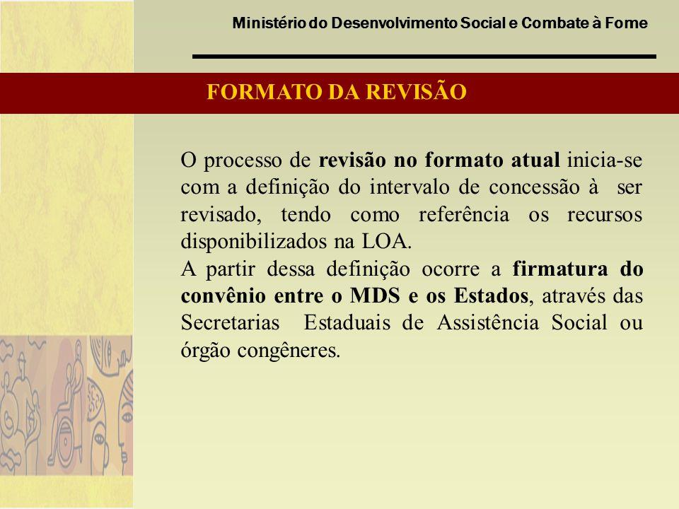 Ministério do Desenvolvimento Social e Combate à Fome O processo de revisão no formato atual inicia-se com a definição do intervalo de concessão à ser revisado, tendo como referência os recursos disponibilizados na LOA.
