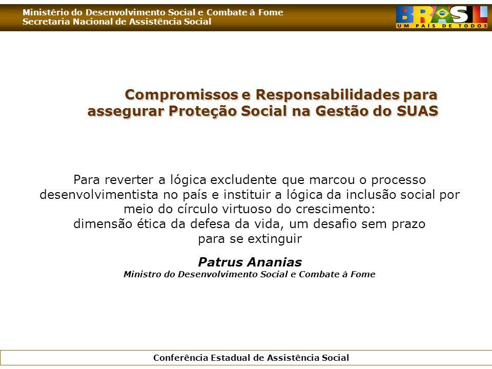 Ministério do Desenvolvimento Social e Combate à Fome Secretaria Nacional de Assistência Social Conferência Estadual de Assistência Social Compromisso