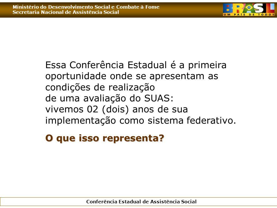 Ministério do Desenvolvimento Social e Combate à Fome Secretaria Nacional de Assistência Social Conferência Estadual de Assistência Social Essa Confer