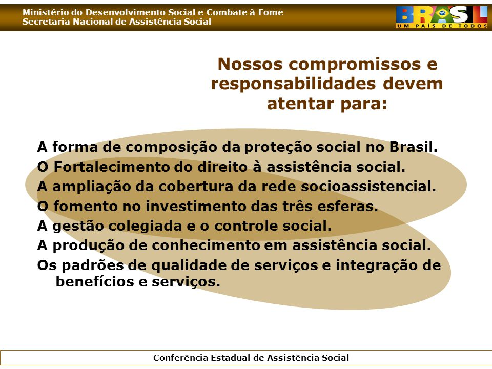 Ministério do Desenvolvimento Social e Combate à Fome Secretaria Nacional de Assistência Social Conferência Estadual de Assistência Social Nossos comp