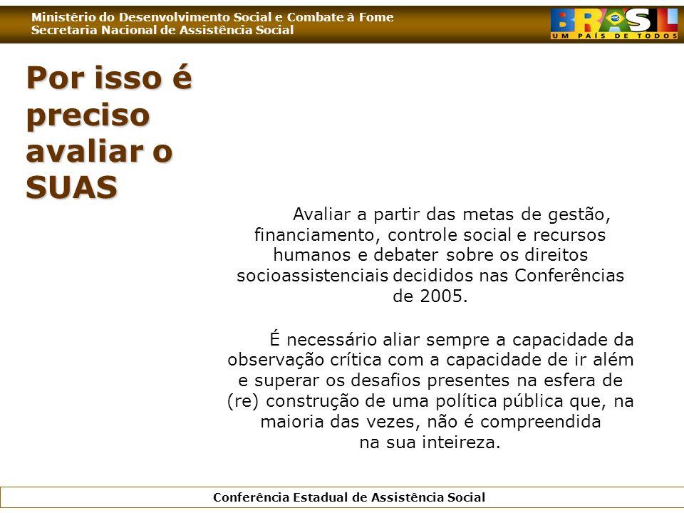 Ministério do Desenvolvimento Social e Combate à Fome Secretaria Nacional de Assistência Social Conferência Estadual de Assistência Social Por isso é