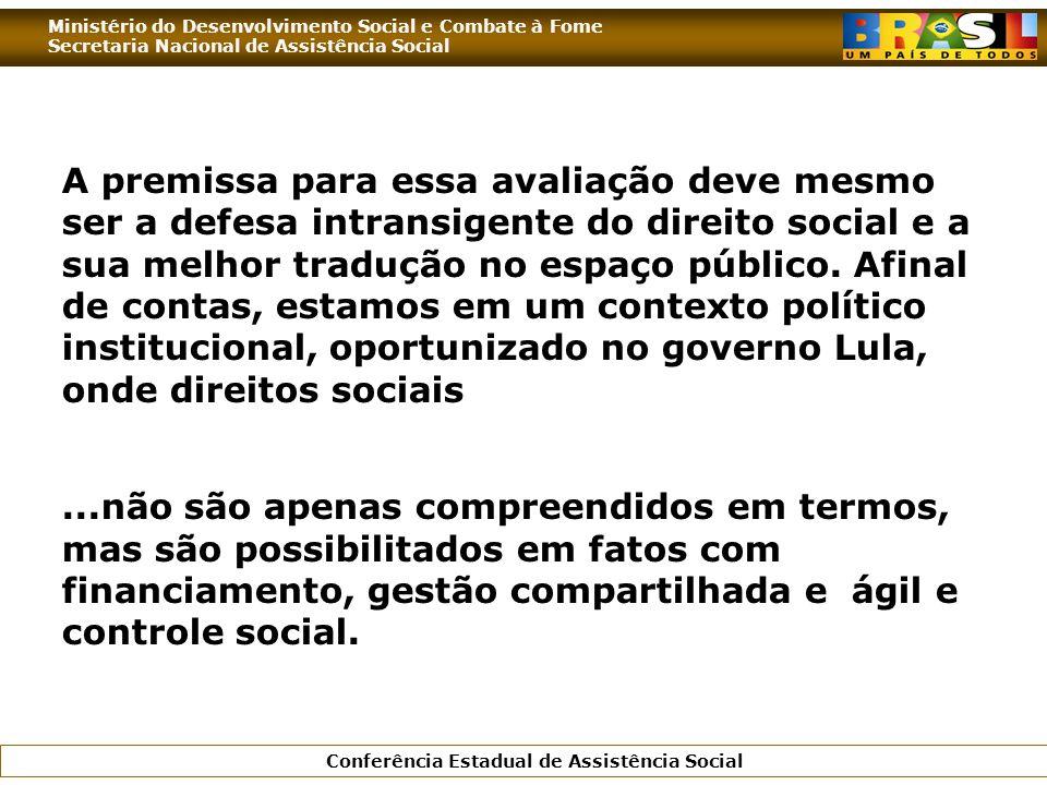 Ministério do Desenvolvimento Social e Combate à Fome Secretaria Nacional de Assistência Social Conferência Estadual de Assistência Social A premissa