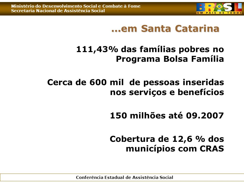 Ministério do Desenvolvimento Social e Combate à Fome Secretaria Nacional de Assistência Social Conferência Estadual de Assistência Social 111,43% das