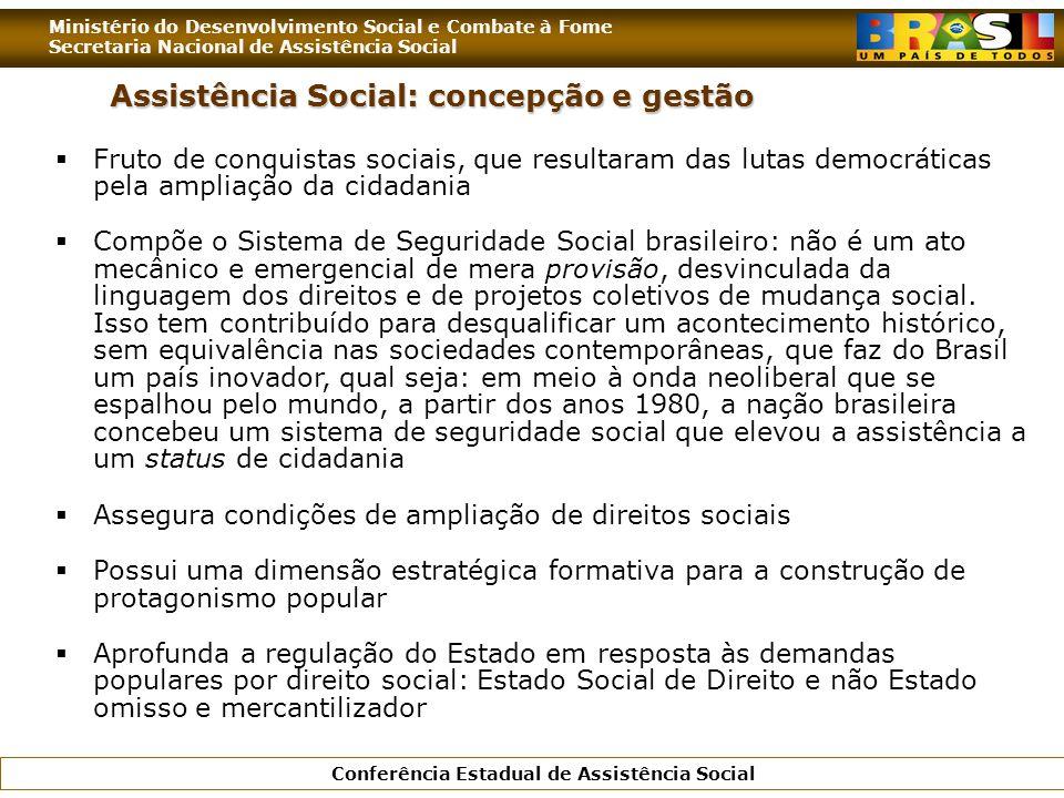 Ministério do Desenvolvimento Social e Combate à Fome Secretaria Nacional de Assistência Social Conferência Estadual de Assistência Social Assistência