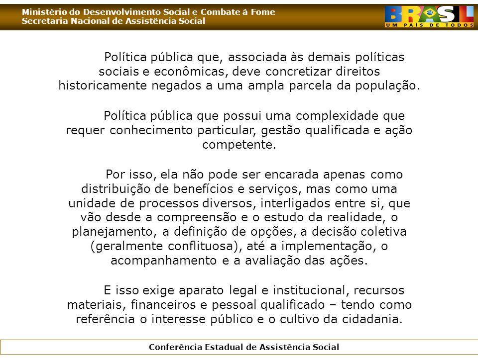 Ministério do Desenvolvimento Social e Combate à Fome Secretaria Nacional de Assistência Social Conferência Estadual de Assistência Social Política pú