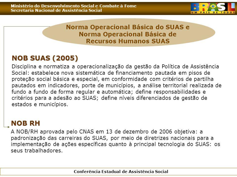 Ministério do Desenvolvimento Social e Combate à Fome Secretaria Nacional de Assistência Social Conferência Estadual de Assistência Social NOB SUAS (2