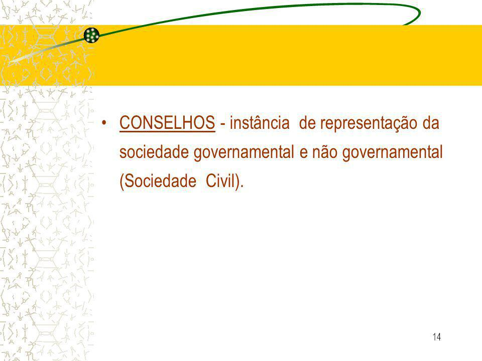14 CONSELHOS - instância de representação da sociedade governamental e não governamental (Sociedade Civil).