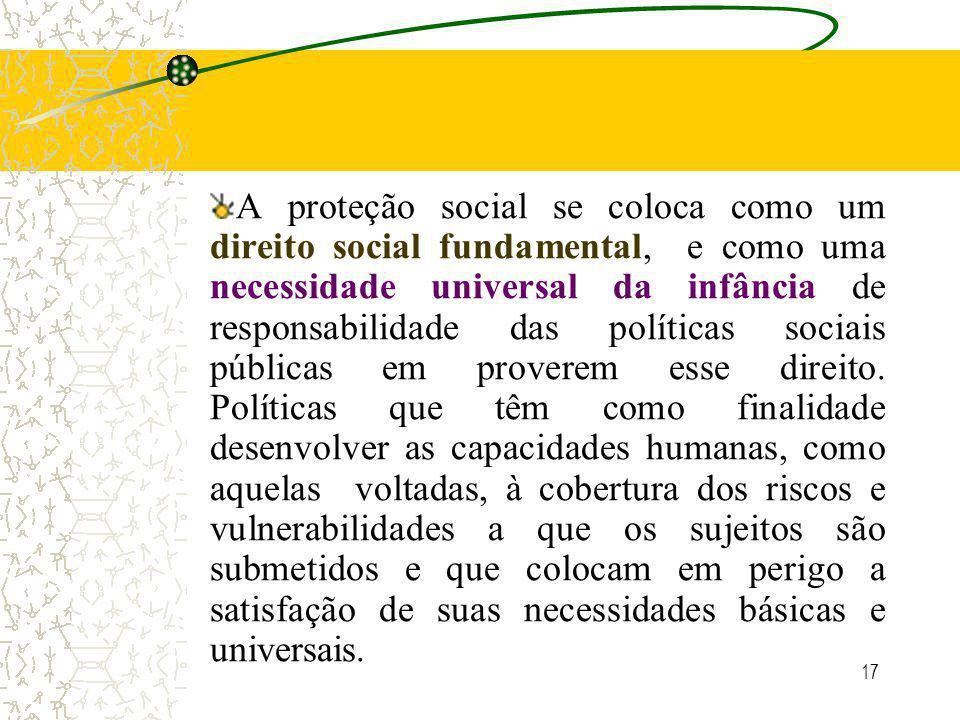 17 A proteção social se coloca como um direito social fundamental, e como uma necessidade universal da infância de responsabilidade das políticas sociais públicas em proverem esse direito.