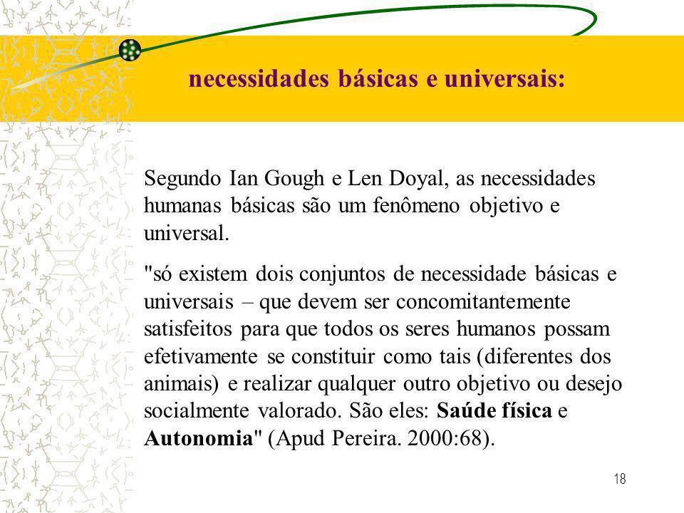 18 necessidades básicas e universais: Segundo Ian Gough e Len Doyal, as necessidades humanas básicas são um fenômeno objetivo e universal.