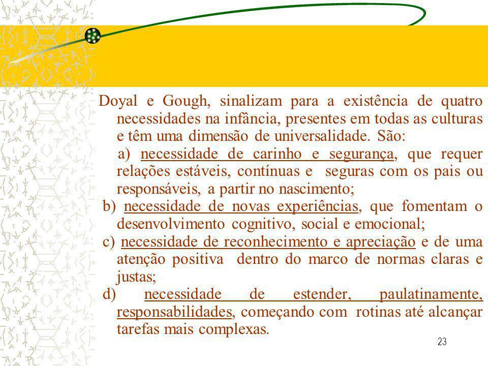23 Doyal e Gough, sinalizam para a existência de quatro necessidades na infância, presentes em todas as culturas e têm uma dimensão de universalidade.
