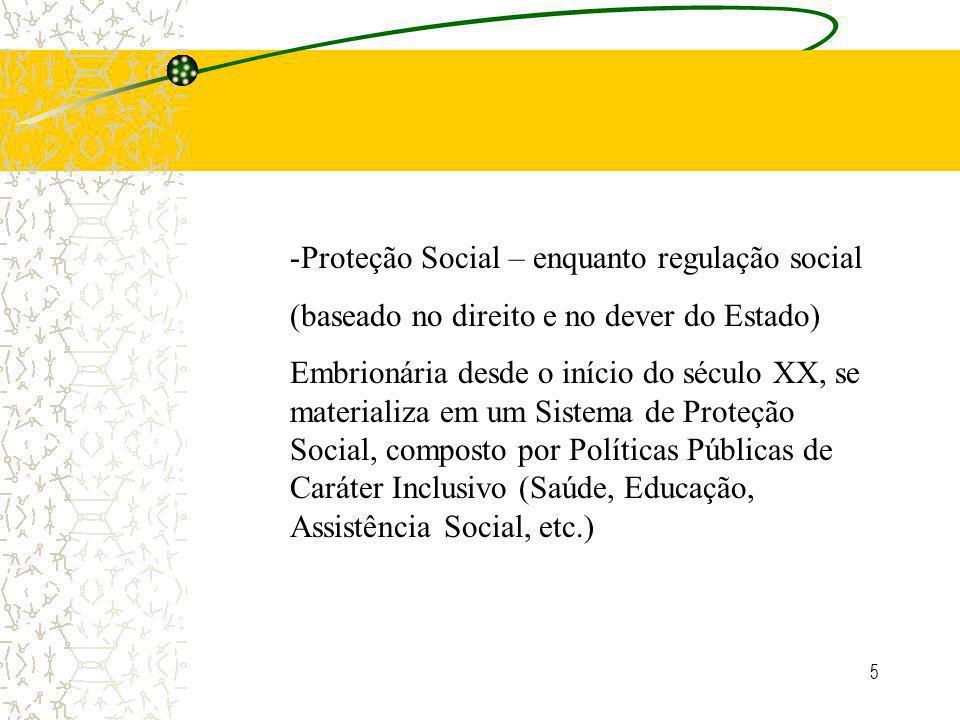 5 -Proteção Social – enquanto regulação social (baseado no direito e no dever do Estado) Embrionária desde o início do século XX, se materializa em um Sistema de Proteção Social, composto por Políticas Públicas de Caráter Inclusivo (Saúde, Educação, Assistência Social, etc.)