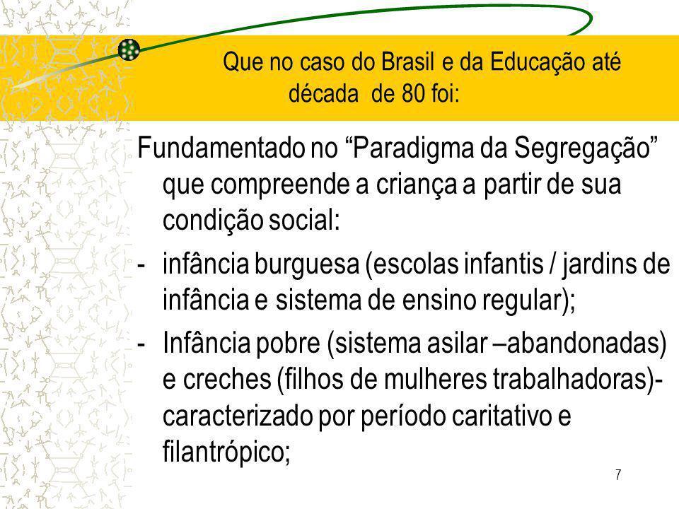 7 Que no caso do Brasil e da Educação até década de 80 foi: Fundamentado no Paradigma da Segregação que compreende a criança a partir de sua condição social: -infância burguesa (escolas infantis / jardins de infância e sistema de ensino regular); -Infância pobre (sistema asilar –abandonadas) e creches (filhos de mulheres trabalhadoras)- caracterizado por período caritativo e filantrópico;