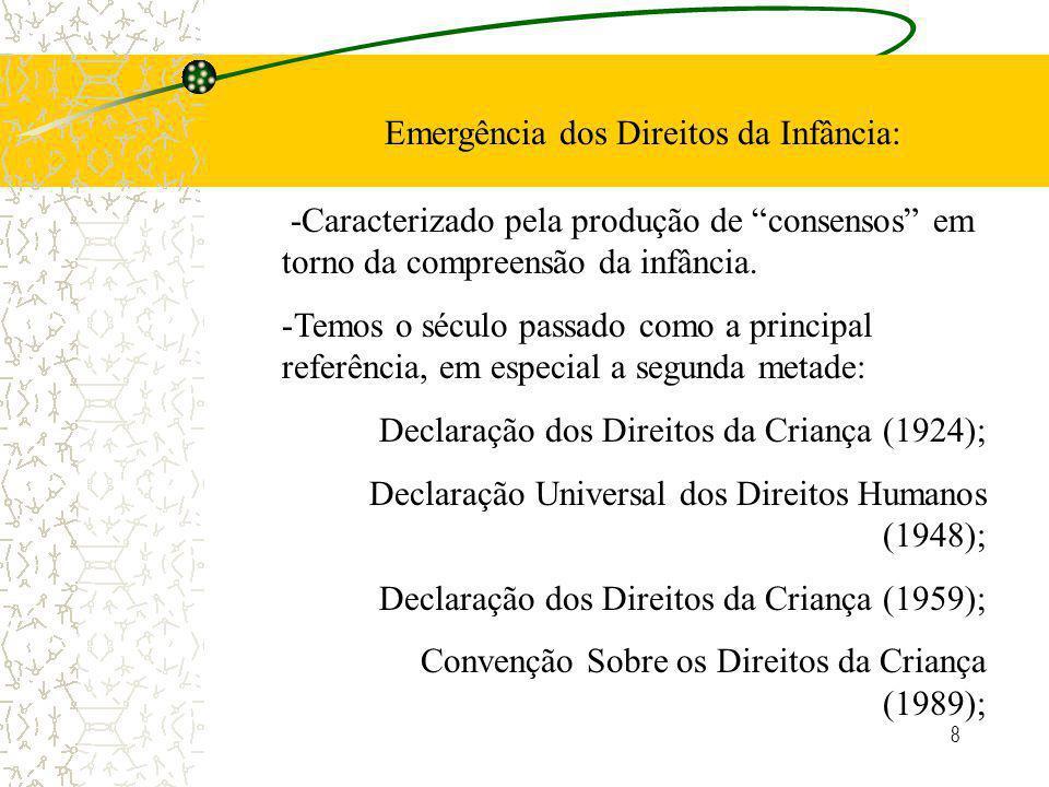 8 Emergência dos Direitos da Infância: -Caracterizado pela produção de consensos em torno da compreensão da infância.