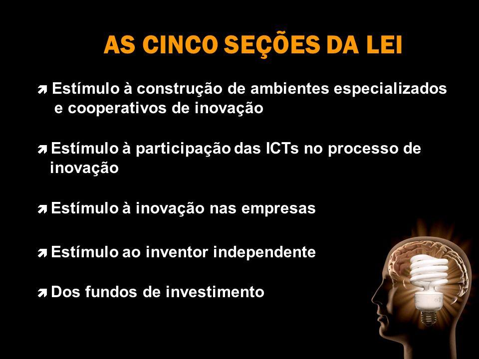 AS CINCO SEÇÕES DA LEI Estímulo à construção de ambientes especializados e cooperativos de inovação Estímulo à participação das ICTs no processo de inovação Estímulo à inovação nas empresas Estímulo ao inventor independente Dos fundos de investimento