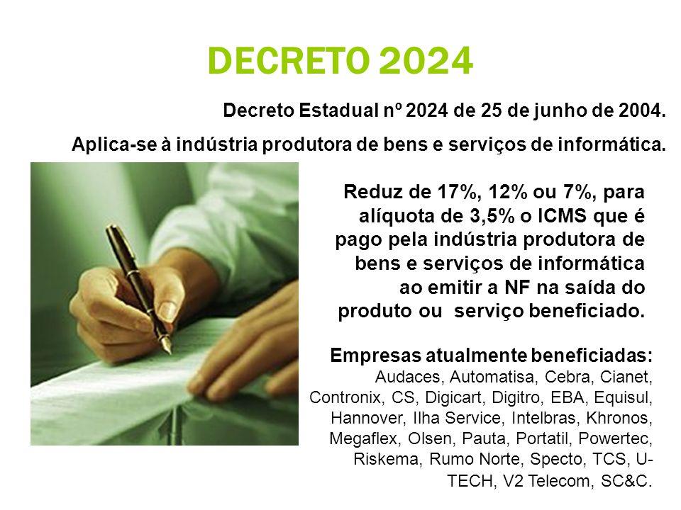DECRETO 2024 Decreto Estadual nº 2024 de 25 de junho de 2004.