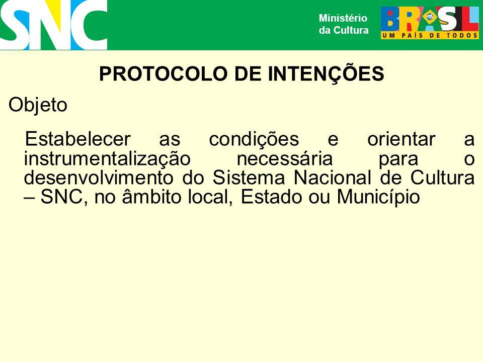 PROTOCOLO DE INTENÇÕES Objeto Estabelecer as condições e orientar a instrumentalização necessária para o desenvolvimento do Sistema Nacional de Cultura – SNC, no âmbito local, Estado ou Município Ministério da Cultura