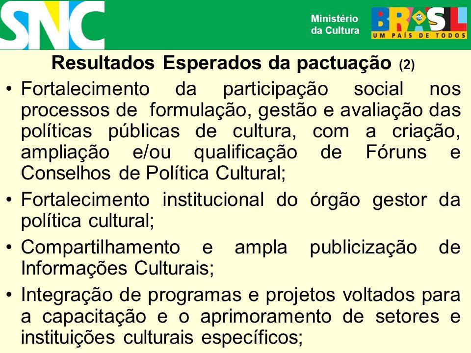 Resultados Esperados da pactuação (2) Fortalecimento da participação social nos processos de formulação, gestão e avaliação das políticas públicas de cultura, com a criação, ampliação e/ou qualificação de Fóruns e Conselhos de Política Cultural; Fortalecimento institucional do órgão gestor da política cultural; Compartilhamento e ampla publicização de Informações Culturais; Integração de programas e projetos voltados para a capacitação e o aprimoramento de setores e instituições culturais específicos; Ministério da Cultura