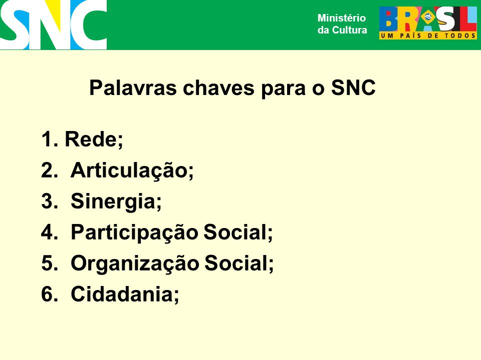 Ministério da Cultura Palavras chaves para o SNC 1.