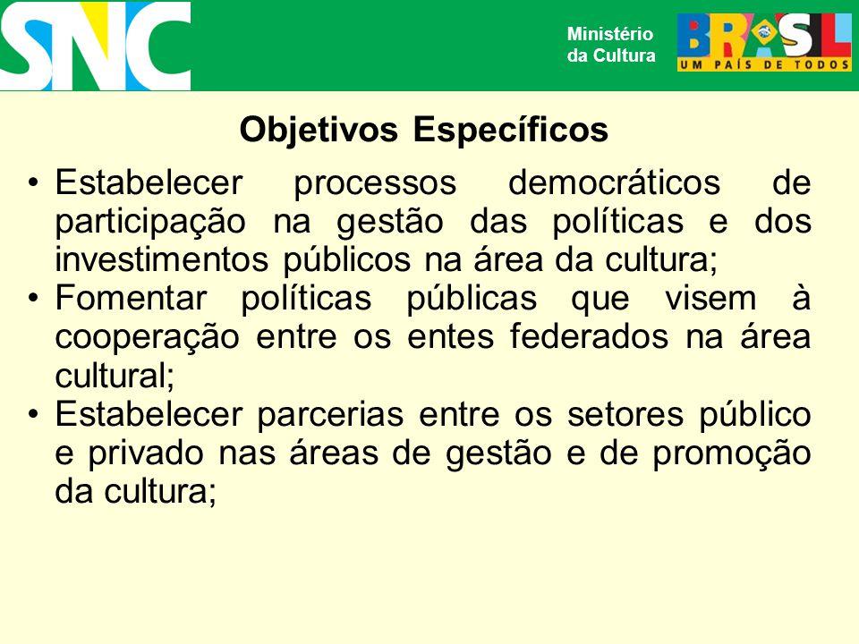 Objetivos Específicos Estabelecer processos democráticos de participação na gestão das políticas e dos investimentos públicos na área da cultura; Fomentar políticas públicas que visem à cooperação entre os entes federados na área cultural; Estabelecer parcerias entre os setores público e privado nas áreas de gestão e de promoção da cultura; Ministério da Cultura