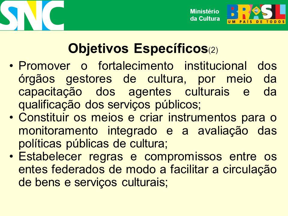 Objetivos Específicos (2) Promover o fortalecimento institucional dos órgãos gestores de cultura, por meio da capacitação dos agentes culturais e da qualificação dos serviços públicos; Constituir os meios e criar instrumentos para o monitoramento integrado e a avaliação das políticas públicas de cultura; Estabelecer regras e compromissos entre os entes federados de modo a facilitar a circulação de bens e serviços culturais; Ministério da Cultura